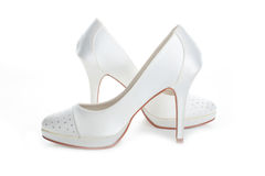 Wedding shoes white Stock Photos