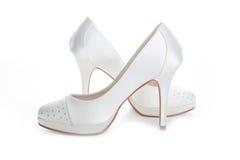 Wedding shoes white Stock Photos