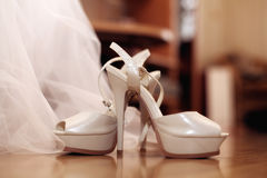 Wedding shoes and white Royalty Free Stock Image