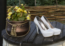 Wedding shoes. Women's shoes on a wooden cover Stock Images