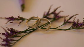 At wedding shoots wedding rings on flowers. At wedding shoots  wedding rings on flowers stock video footage