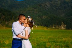 Wedding shot of the adorable newlyweds softly kissing on the meadow at the background of the mountains royalty free stock image