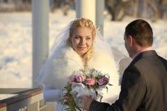 Wedding shot of bride and groom Stock Photo