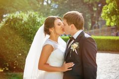 Wedding shot of bride and groom Royalty Free Stock Image