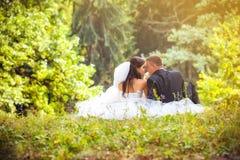 Wedding shot of bride and groom Stock Image