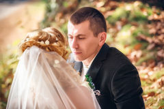 Wedding shot of bride and groom Stock Photos