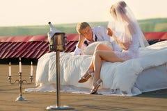 Wedding shot on roof Royalty Free Stock Image