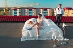 Wedding shot on roof Royalty Free Stock Photos