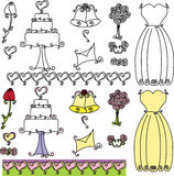 Wedding Shower clip art. Set with cake, bells and dress Stock Photo
