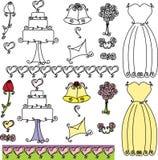 Wedding Shower clip art. Set with cake, bells and dress Stock Illustration