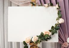 Wedding Sign. Wedding Board Mockup with flowers on top of it