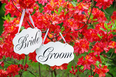 Wedding signage and spring blossom Stock Photo