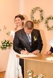 The wedding signature. Ceremony of wedding, a fastening the signature Stock Photos
