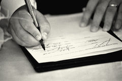 Wedding signature. Black and white photography Royalty Free Stock Photo