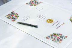 Wedding signature. The signature after the wedding ceremony Royalty Free Stock Photo