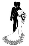 Wedding Silhouette Bride and Groom Bouquet Royalty Free Stock Photo