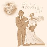 Wedding silhouette and flowers Royalty Free Stock Photo