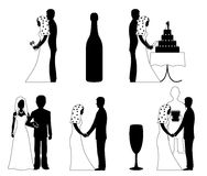 Wedding silhouette set vector Stock Images