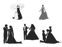 Wedding silhouettes Royalty Free Stock Photography