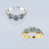 Wedding Silver Ring,Gold ring  with Diamond Stock Photo