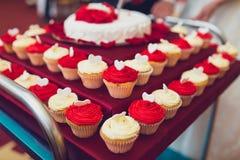 Wedding small cupcakes Royalty Free Stock Photo