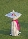 Wedding small table. Wedding ceremony table  in garden for hospitality Stock Photo