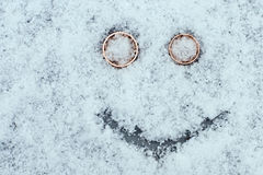 Wedding smiley on the snow with copyspace Stock Photos