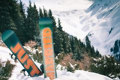 Wedding snowboards at mountain. Just Married Royalty Free Stock Image