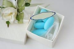 Wedding souvenir - sweets in a white box. Wedding souvenir - sweets in a white papper box Stock Photo