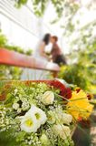 Wedding special moment. Picture of a Wedding special moment (focul on flower Royalty Free Stock Photo