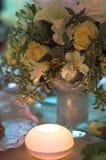 Wedding spirit. Flowers and lamp Royalty Free Stock Photos