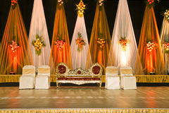 Wedding stage-03. A Reception Stage Where Newly Married Couple Gets Blessings From The Invitees stock photo