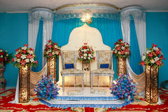 Wedding stage. Asian culture blue wedding stage Royalty Free Stock Image