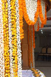 Wedding stage decoration. A kerala hindu wedding stage decorated with colourfull flowers Royalty Free Stock Images