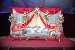 Wedding stage events in Pakistan Asia elegant and fancy furniture, wedding setup and decoration. Decorative wedding events in Asia, elegant and fancy furniture Royalty Free Stock Photography