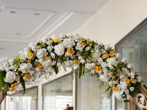 Wedding  stage of flowers disign royalty free stock photo