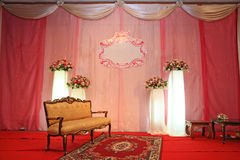Wedding Stage with Golden vintage chair Royalty Free Stock Photography