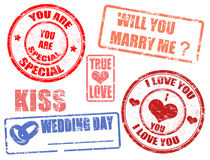 Wedding stamps. Collection of wedding postage stamps,  illustration Royalty Free Stock Photos