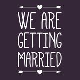 Wedding/We stanno sposando l'etichetta/distintivo Fotografia Stock