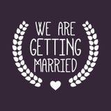 Wedding/We stanno sposando l'etichetta/distintivo Immagine Stock