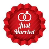 Wedding star. Just married sticker with rings. Royalty Free Stock Photos