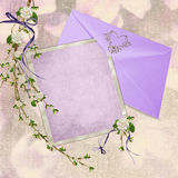 Wedding stationery. Soft purple stationery with flowering branch on textured background vector illustration