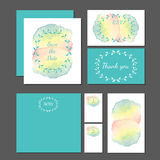 Wedding stationery design set vector. Royalty Free Stock Photo