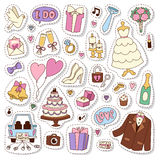 Wedding stickers icons vector illustration. Married celebration music groom invitation elements. Ceremony of love bride gift envelope collection Stock Image