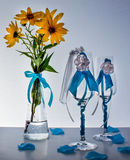 Wedding still life. Decorations on the wedding table for the bride and groom Royalty Free Stock Photo