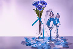 Wedding still life. Decorations on the wedding table for the bride and groom Royalty Free Stock Photos
