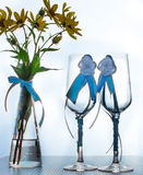 Wedding still life. Decorations on the wedding table for the bride and groom Stock Photo
