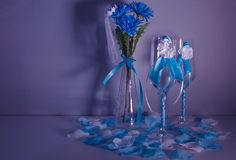 Wedding still life. Decorations on the wedding table for the bride and groom Royalty Free Stock Images