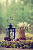 Wedding still life in rustic style. Forest on background. Royalty Free Stock Photo