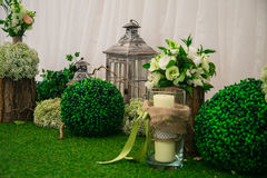 Wedding still life in rustic style. Retro stylized photo. Stock Photo
